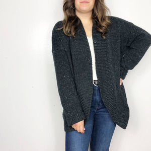 LOFT Charcoal Speckled Chunky Cardigan Sweater XL